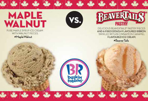 Baskin-Robbins Canada celebrates the return of National Ice Cream Month and announces winner of June social media debate, where BeaverTails (R) Pastry was chosen as the most 'Canadian' ice cream flavour, over the competition, Maple Walnut. (CNW Group/Baskin-Robbins Canada)