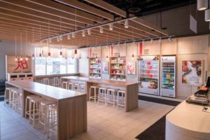 A new 'grab-and-go' wall features sushi, beverages and packaged snacks.