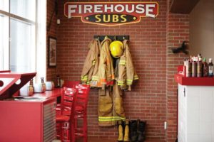 All Firehouse Subs locations are decorated with a fire hall theme.