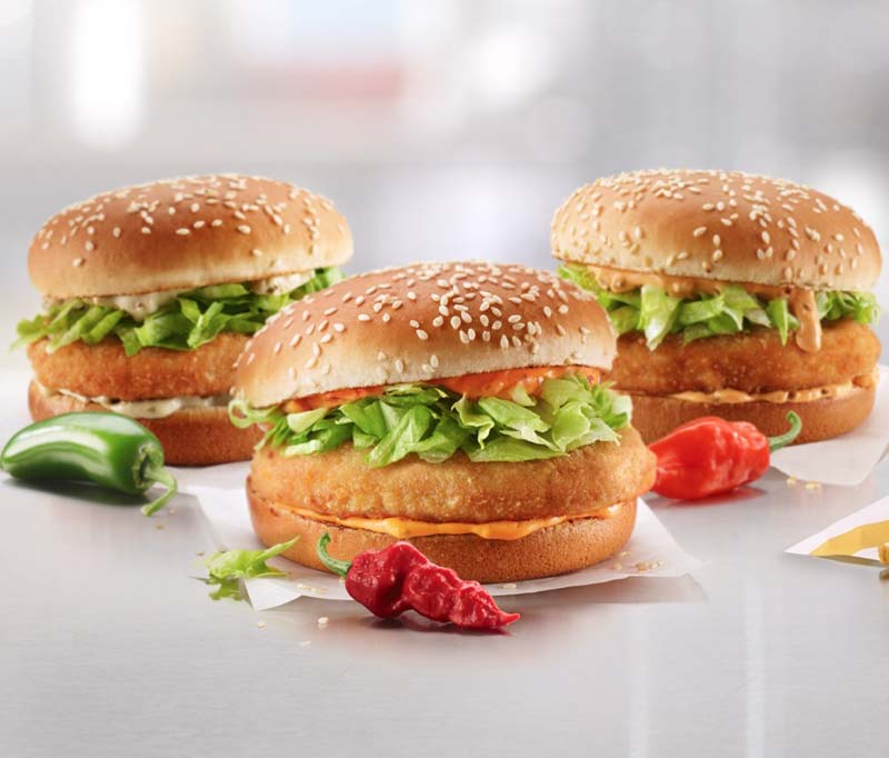 McDonald's Canada is serving up three spicy variations of its McChicken sandwich.