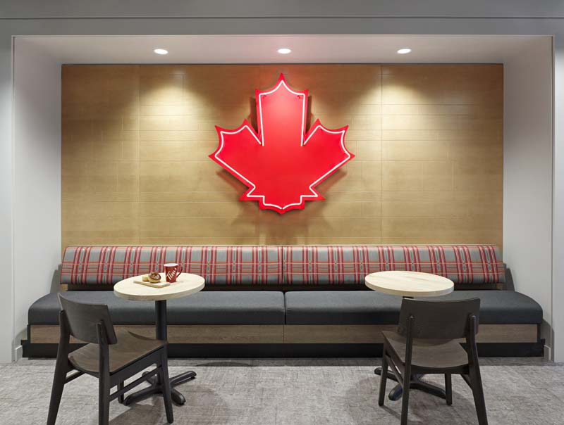 The décor of Tim Hortons' new head office stays true to the company's Canadian roots.