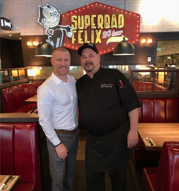 Browns Socialhouse franchisee Oliver Prucklmeier with the restaurant's chef, James Bernell.