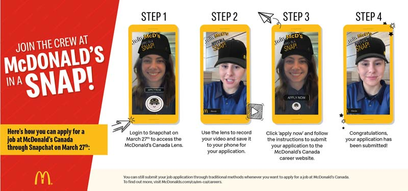 McDonald's Canada is hosting a one-day virtual hiring event that will let job-seekers apply with a 'Snapplication' through Snapchat.