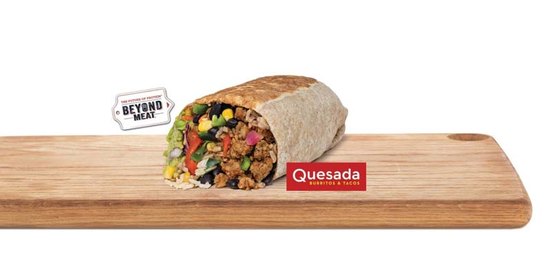 Quesada Burritos & Tacos has partnered with plant-based food-service company Beyond Meat on a new vegan menu item.