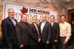 Owners of Mr. Mikes. From left: Al Cave (vice-chairman, RAMMP), Don Gowan (franchisee and senior vice-president of brand and marketing, RAMMP), Greg Smith (franchisee), Robin Chakrabarti (president, RAMMP), Paul Gowan (franchisee), and Mike Gowan (franchisee).