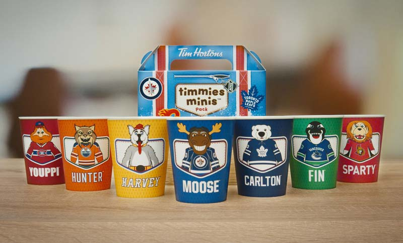 For a limited time, Tim Hortons' kids' packs will come with one of seven reusable, collectable cups, each featuring the official National Hockey League (NHL) mascot of a Canadian team.