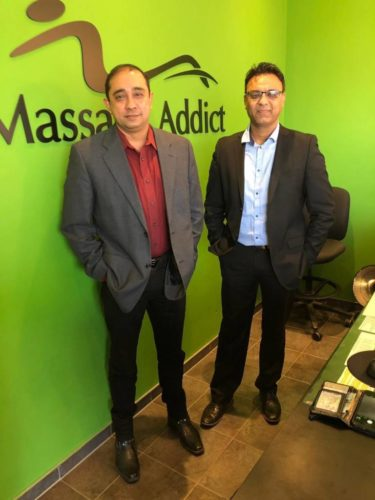 Longtime friends and business partners Gobinder Sandhu and Magesh Venkataraman have opened the 90th Massage Addict clinic in Etobicoke, Ont.