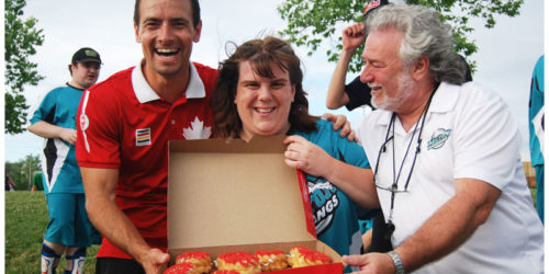 Tim Hortons raised a record-setting $150,000 for Special Olympics athletes on 'Global Day of Inclusion.'  Special Olympics Ontario athleteTori Ranson is pictured in the centre.