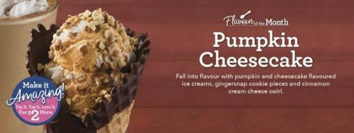 Pumpkin Cheesecake is Baskin-Robbin' flavour for September.
