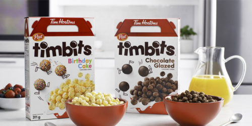 Tim Hortons has partnered with Post Foods Canada to create two new breakfast cereals inspired by the taste of Timbits.