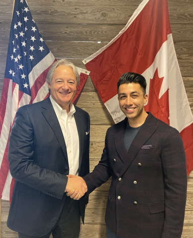California Pizza Kitchen (CPK) plans to expand in Canada. Pictured from left to right: Giorgio Minardi, executive vice-president of global development and franchise operations at CPK, and Naheed Shariff, CPK franchisee.