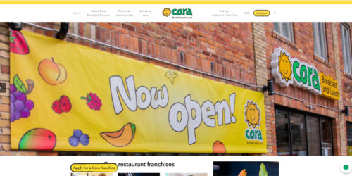 Food-franchise system Cora: Breakfast and Lunch has announced the launch of its new franchisee recruitment website.