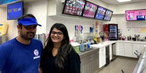 Franchisees Ishan Patel and Shreya Ruwala at the Baskin-Robbins/Kernels combo store in Hamilton.