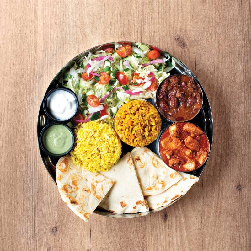 """The menu adheres to the """"build-your-own-meal"""" model, which provides customers with the freedom to customize their salads, rice bowls, Indian roti wraps, and kebab burgers."""