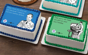 Special for Father's Day, Baskin-Robbins has partnered with Someecards, a humour and meme website, to launch a series of three meme-based cakes featuring any combination of ice cream flavours and cake.