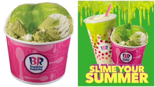 Baskin-Robbins has added its first edible slime, Sour Berry Lime, as well as Summertime Lime to its menu for the month of June.